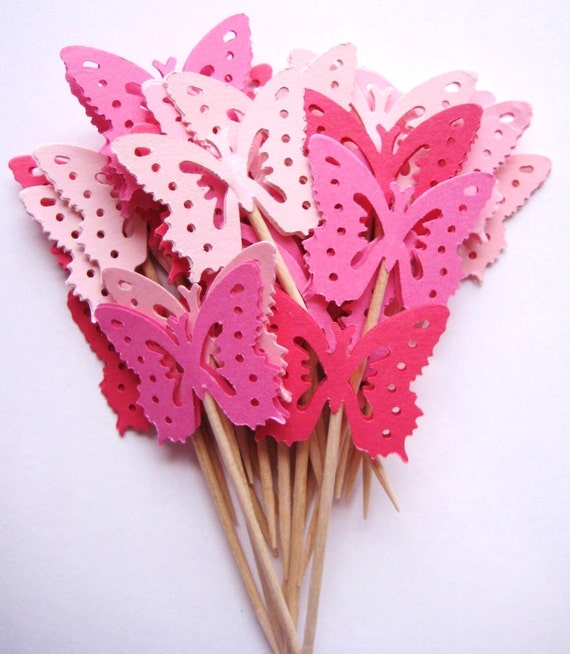24 Mixed Pink Medium Monarch Butterfly Party Picks - Cupcake Toppers - Toothpicks - Food Picks - die cut punch FP175