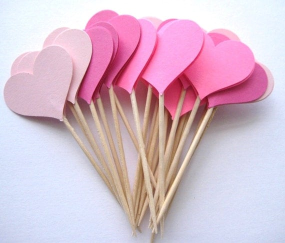 24 Mixed Pink Heart Party Picks - Cupcake Toppers - Toothpicks - Food Picks FP195