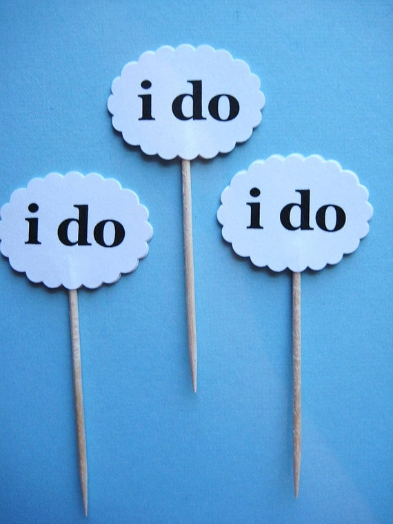 12 i do Party Picks - Cupcake Toppers - Toothpicks - Food Picks - die cut punch FP210