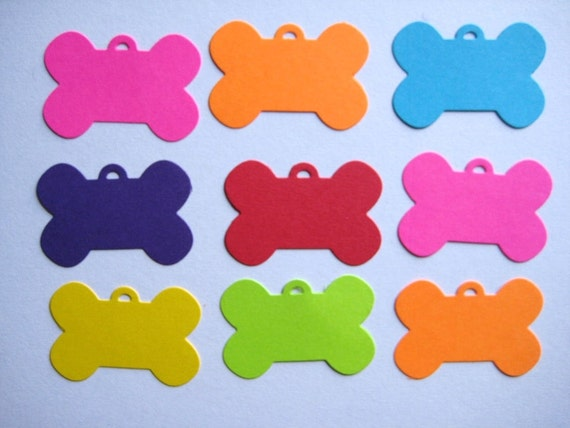 16 Bright Dog Bone Tags punch die cut scrapbooking embellishments E1431