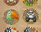 zoo - circles - digital collage sheet -1 x 1 inch - Printable Download