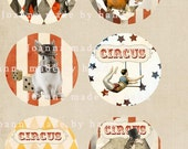 Circus - digital collage sheet 1 x 1 inch -Printable Download