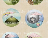 Dreams- circles - digital collage sheet 1 x 1 inch -Printable Download