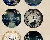 Nightmare circle  - digital collage sheet 1 x 1 inch -Printable Download