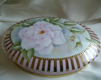 hand painted box, large pink trinket box, porcelain box, pink trinket box, kiln fired, wild  rose box, jewellry box