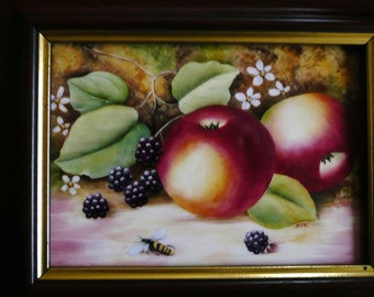 Hand painted plaque, bone china plaque, fruit design, fruit picture