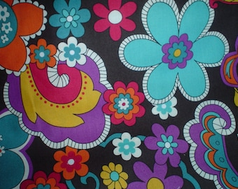 New Brown Mod Paisley and Floral 100% Cotton Fabric One and One Third Yards