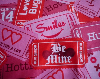 ONE HALf  yard Tickets Valentines New Brother Sister Design Pink Love Ticket 100% Cotton Fabric One Yard Brother Sister Design