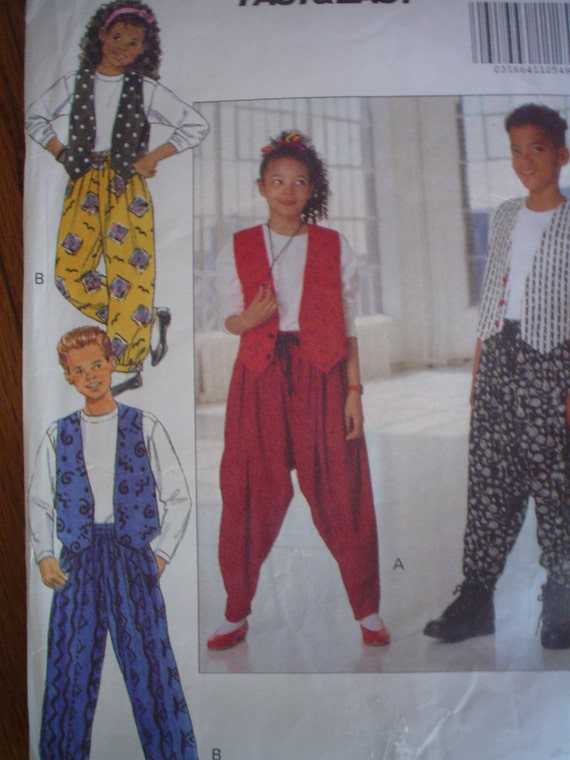 90s Style Girls Boys Vest Top & Pants Pattern EASY Sizes 7 8 10 SALE