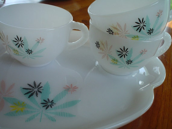 Vintage Milk Glass Retro Flowers Luncheon Plates and Cups Set of Three Less than 25