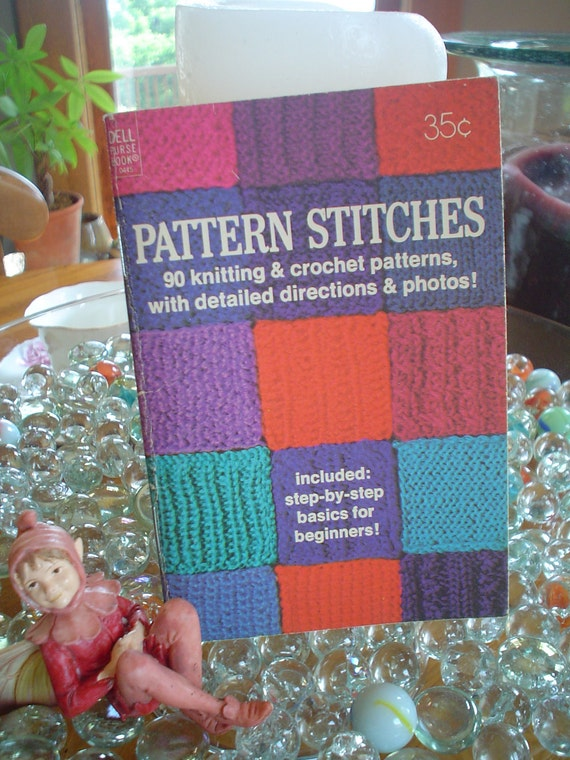 Crochet And Knitting Pattern Stitiches Pocket Book Easy Steps 1972 Dell Purse Book