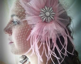 Bridal Fascinator - Bridal Hairpiece - Birdcage Veil - Pink Fascinator  - Bridal Veil - Feathered Hairpiece