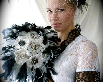 Broach Bouquet - Brooch Bouquet - Bridal Bouquet - Jeweled Bouquet - Brooch & Feather Bouquet - Black and White Bouquet