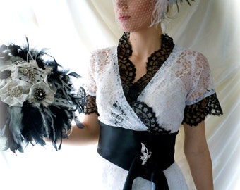 Wedding Gown - Wedding Dress - Black & White Wedding Dress - Lace Wedding Dress Top