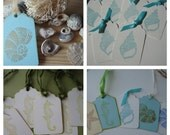 BeachTags,  Shell Tags, Starfish Tags, Seashells, Seahorses,Prestrung Tags.  Beach Wedding Tags or Favors. Sealife.