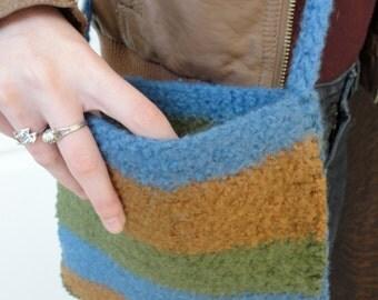Felted Bag, Felted Tote Bag, Striped Bag, Purse, Cross Bag. Brown, Blue, Green. Hip Bag. Unisex Bag.