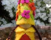 Sunshine flower fairy blossom felt gnome Waldorf inspired elf sprite nature table play doll