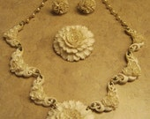 30's 40's Celluloid Floral and Pearls WEDDING Parure - Necklace, Earrings, Pin