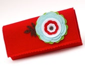 Red Felt Wallet Purse with Large Flower Applique Scalloping & Button. Signal Red Wool Pale Blue Green White Brown