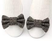 Black & Gray Herringbone Wool Tweed Shoe Bow Clips with Luxurious Zig Zag Chevron Pattern
