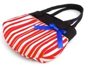 Nautical Purse Handbag Navy White Pleated Tote with Large Buttons. Red Thick Sailor Stripe Scallop Blue Bow 4th July Patriotic