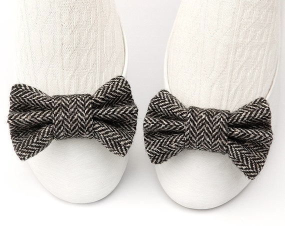 Black & Gray Herringbone Wool Tweed Shoe Bow Clips with Luxurious Zig Zag Chevron Pattern