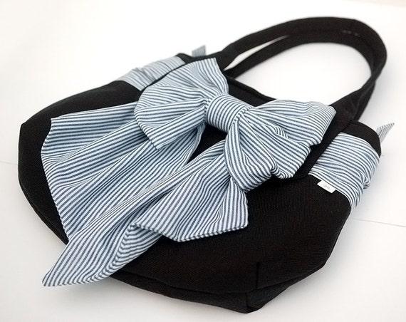 Navy Tote Handbag with Huge Nautical Bow. Rounded Purse Bag with Fabric Sailor Bow Pretty Feminine Blue White Wraparound Sash Belt