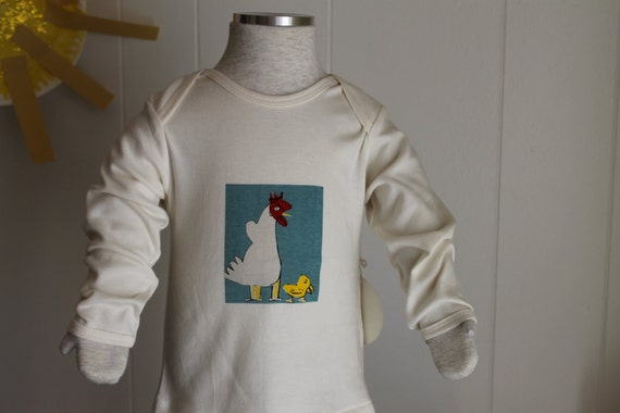 Organic Cotton Tee's w/ 1950's botanical dye Chicken print Long Sleeve  Shanie and Sallie
