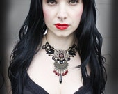Gothic Necklce Dragon pendant gothic large choker steampunk gothic, neo victorian, tattoo wiccan pagan magic, by Vena Kava