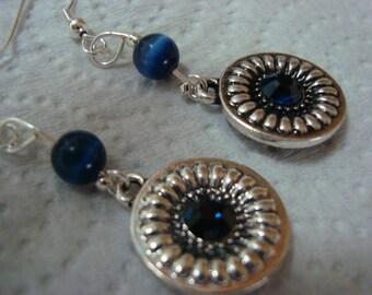 Blue Sunburst Earrings