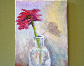 Still Life Painting - Floral - Flower - Gerber Daisy - Flowers in Vase -  fine art - home decor - wall art - wall decor -Small Fine Art