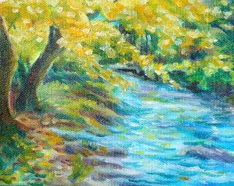 Oil Painting  - Autumn Fall Landscape Creek Stream - Autumn Leaves tree - small painting - impressionist - fine art home decor wall art