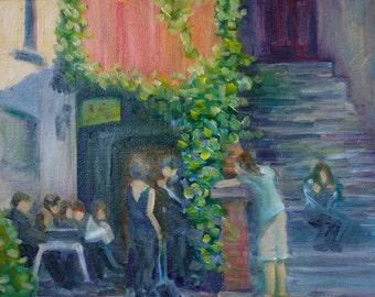 Cityscape Painting - Original Oil - Sidewalk Cafe  - German pub - Figurative street Scene Pub - fine art wall art painting - Impressionist