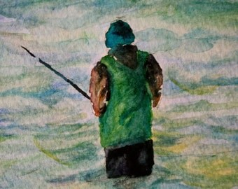 Watercolor Painting Lake Fishing - Fisherman Seascape Painting - nautical - fine art home decor - wall art