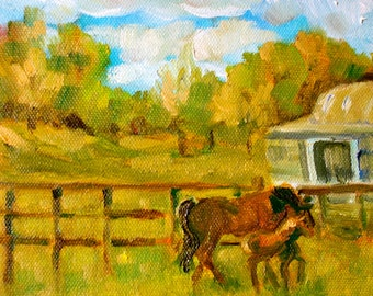 Ireland landscape - Horse Painting - Original Oil - Farm - Countryside - Small Painting