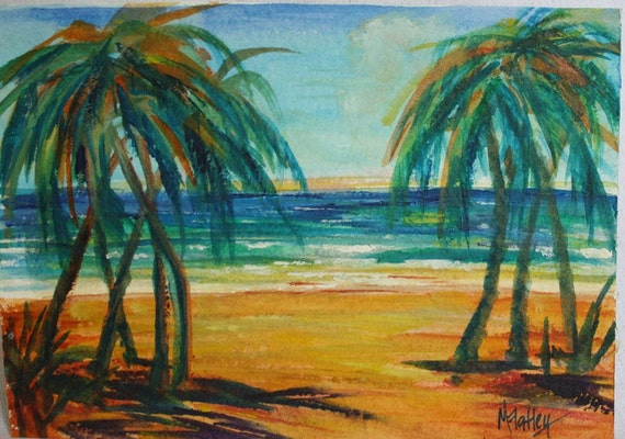 Watercolor Painting Landscape - Tropical Beach Seascape Painting - Palm Trees Ocean Painting