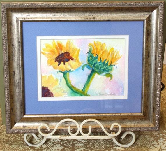 Watercolor Paintings Flowers - Sunflowers Floral Painting