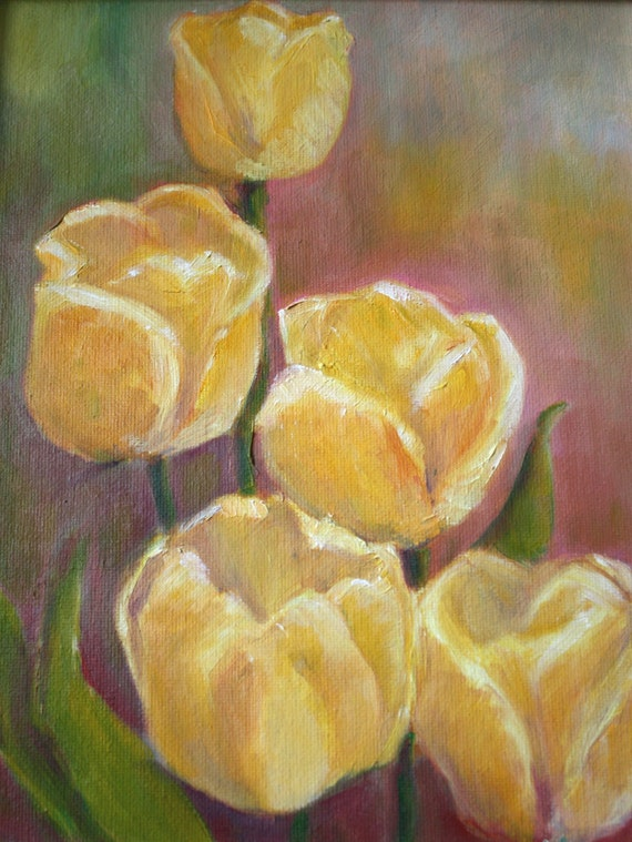 Original Oil Tulip Painting - Flowers - Still Life Floral - Spring Garden - yellow Purple - fine art home decor - Impressionist - wall art