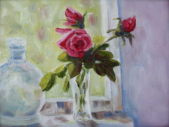 Oil Painting Flowers - Roses Floral Painting - Still Life Painting - Rose buds -window - wall art - fine art home decor - flowers in a vase