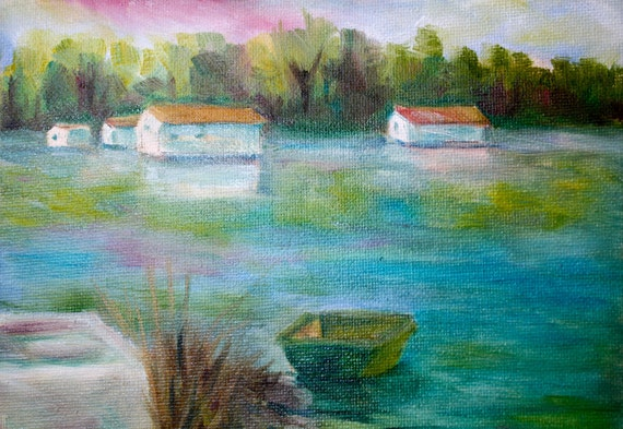 Oil Painting Seascape - Lake Houseboat Painting - Boat Fishing - Nautical - Original Oil Painting Small