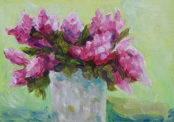 Oil Painting Still Life Flowers - Floral Painting Lilacs
