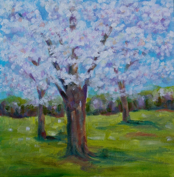 Original Oil Painting Tree - Dogwood Tree Blossoms-Landscape Spring Painting