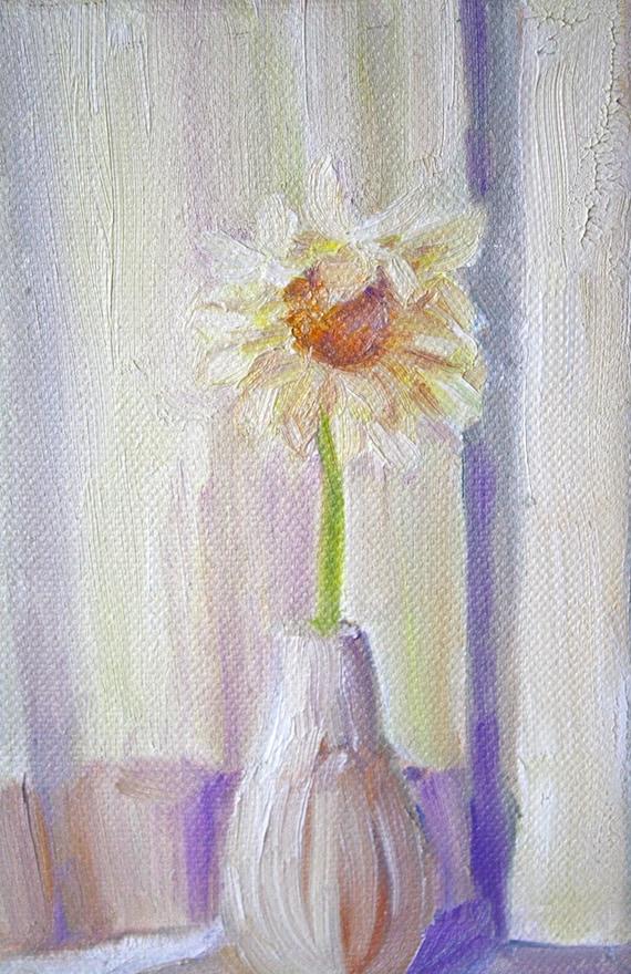 Still Life Painting Flower Art Daisy