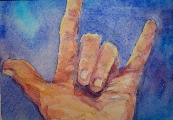 Hand painted in Watercolor Sign Language