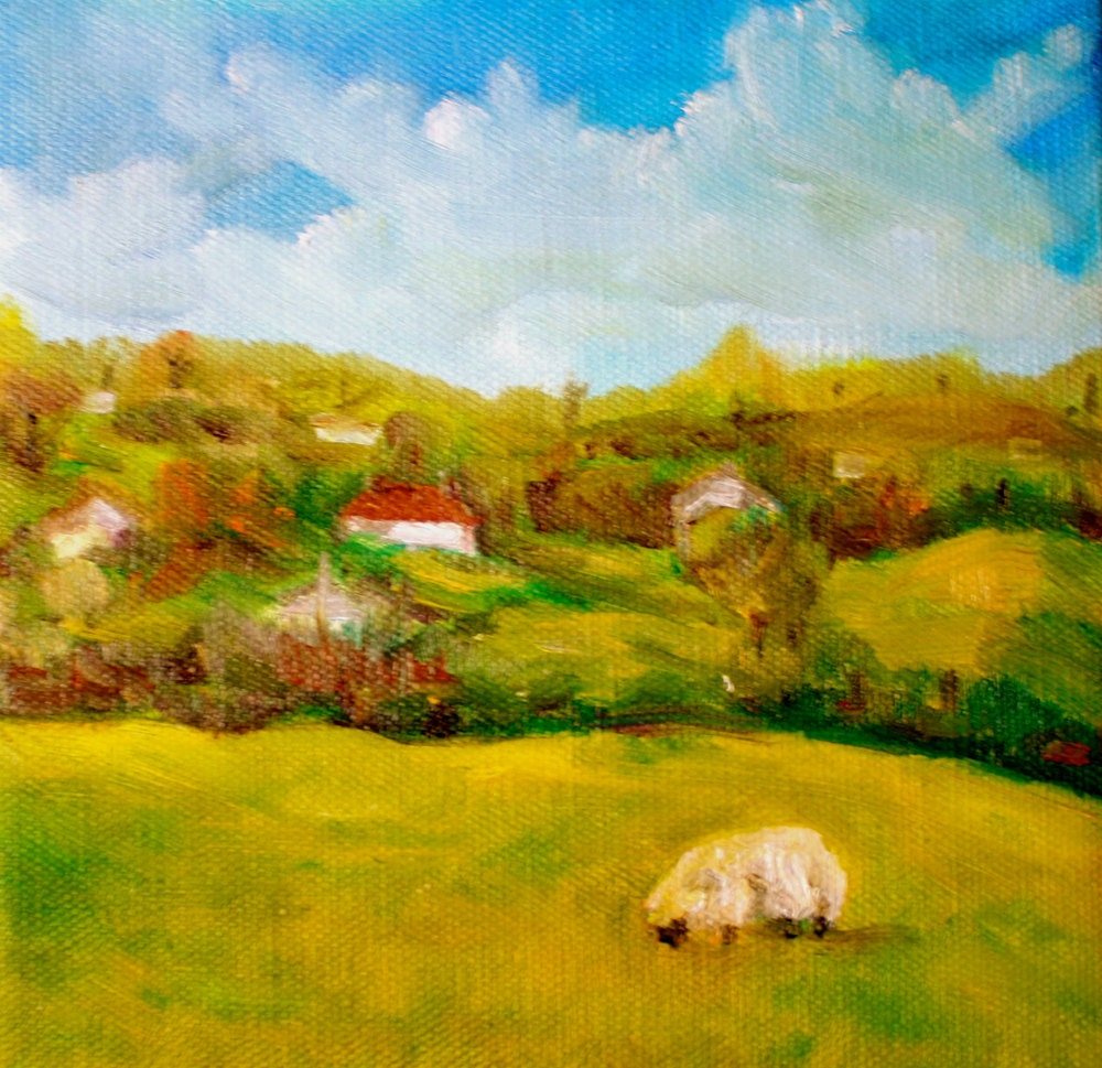 Ireland Landscape Painting Sheep Oil Painting