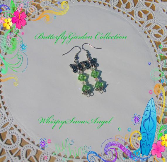 Green Swarovski Dangle Earrings Butterfly Garden Collection SALE