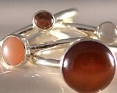 Sterling Stacking Rings Orange Brown Gemstone Sterling Silver Set Citrine Moonstone Carnelian