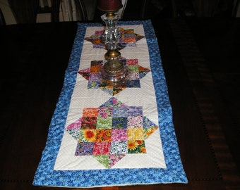 Moda Wildflowers  Floral Table Runner,Blues, Reds,Purple,OrangeAnd Greens...............