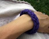 Baby-Friendly 100% Organic Cotton Hand Woven Fabric Bracelet - Purple