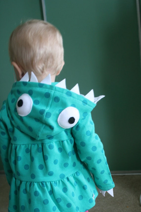 Teal Polka Dot Monster Hoodie - Size 5T